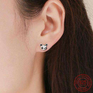 Sweet 925 Sterling Silver Panda Earrings