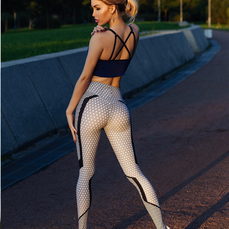 Quick-drying Stretch Fitness Leggings Black and white printed honeycomb - Prography Gear