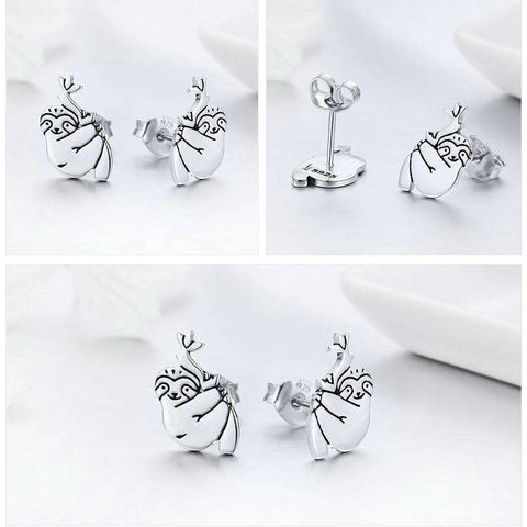 Image of 925 Sterling Silver Lovely Sloth Earrings - Prography Gear