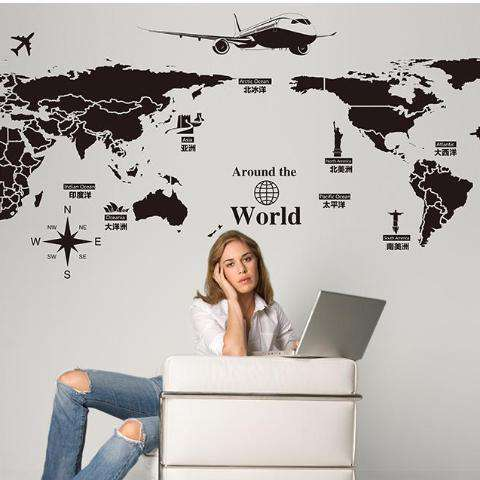 Image of World Map Wall Decorations Sticker - Prography Gear