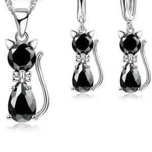 Genuine 925 Sterling Silver Cat Jewelry Set