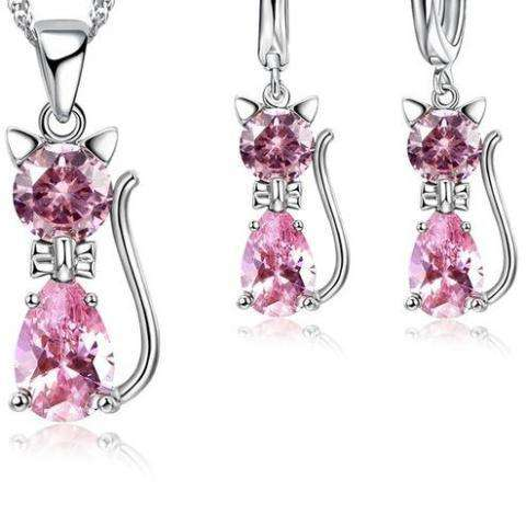 Image of Genuine 925 Sterling Silver Cat Jewelry Set - Prography Gear