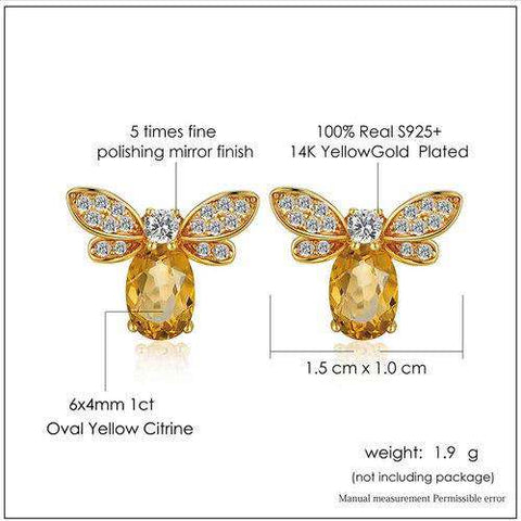 Gold Plated Sterling Silver Bee Earrings - Prography Gear