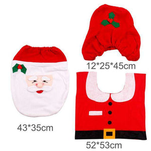 3pcs/set Fancy Santa Claus Rug Seat Bathroom