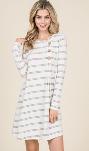 Ivory & Heather Grey Stripe Tunic Dress