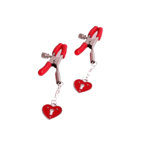 Red Locked Heart Nipple Clamps