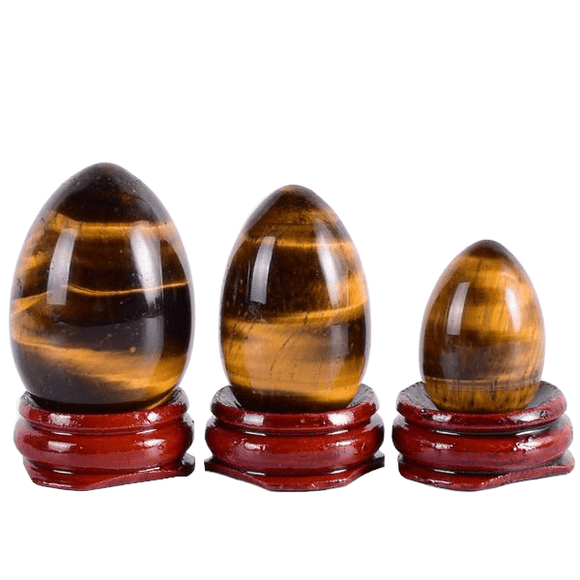 Undrilled Tigers Eye Egg with Wooden Base 3pcs Set