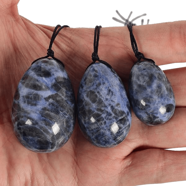 Drilled Sodalite Kegel Trainer Crystal Egg 3pcs Set