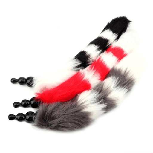 Beaded Silicone Striped Fox Tail Butt Plug 16 inches long