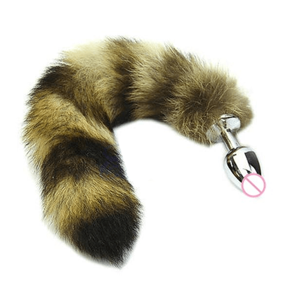 Sexy Faux Steel Raccoon Tail Butt Plug 14 Inches Long