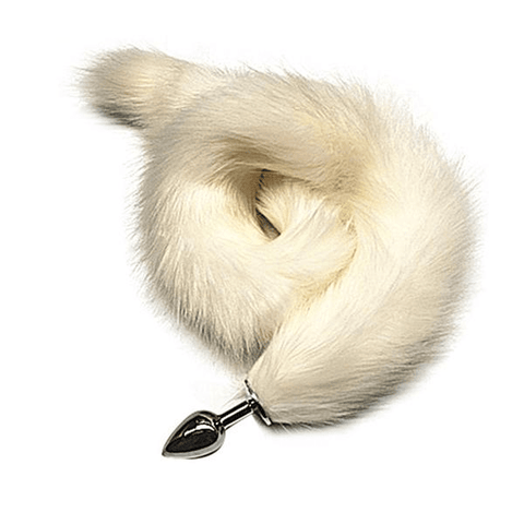 "31"" Fabulously Long White Fox Tail Plug"