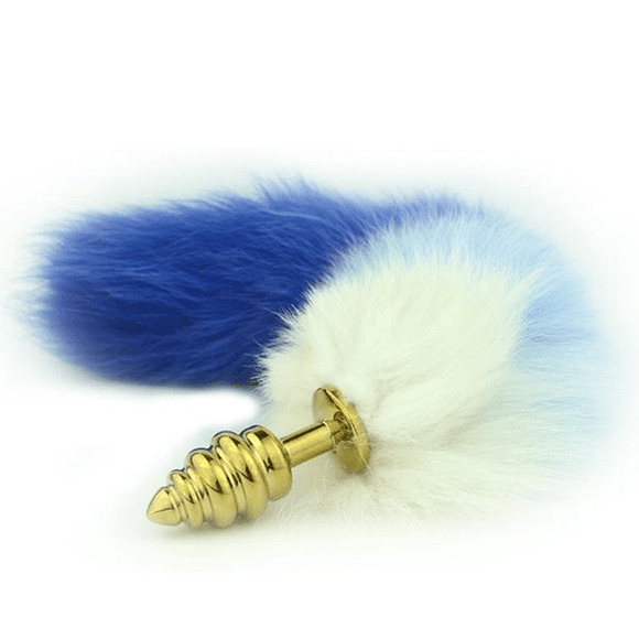 Blue and White Cat Tail Butt Plug 16 Inches Long