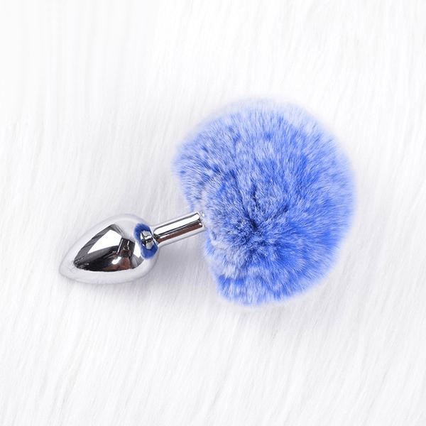 Frosted-Colored Bunny Tail Butt Plug 5.5 Inches Long