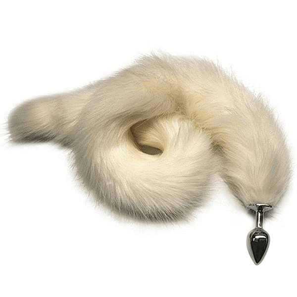 Fabulous White Fox Tail Butt Plug 31 Inches Long