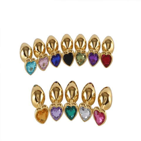 "2.95""-3.35"" S/M Virgin Heart Golden Jeweled Butt Plug"