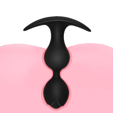 "4.53"" Black Beaded Rose Silicone Butt Plug"