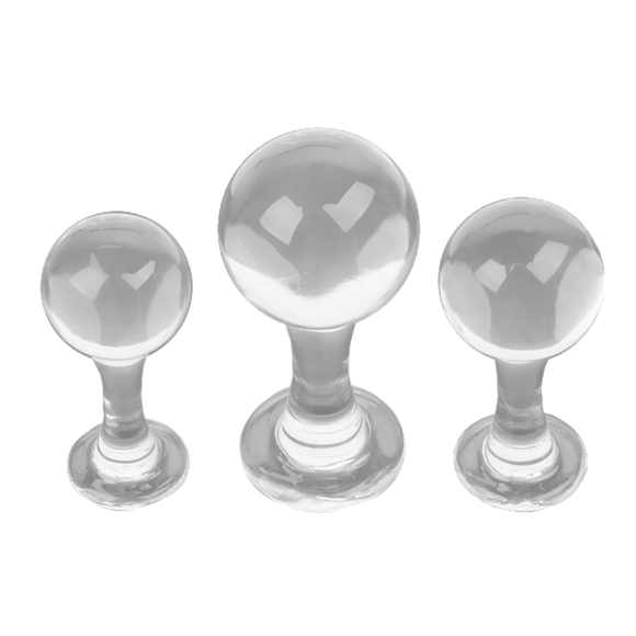 Ball and Stem Glass Butt Plug 3.94 to 5.04 Inches Long