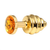 Colored Jewel Golden Metal Butt Plug 2.95 inches long