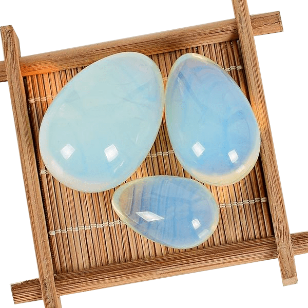 Opalite Yoni Egg | S/M/L Undrilled Opalite Egg with Wooden Base