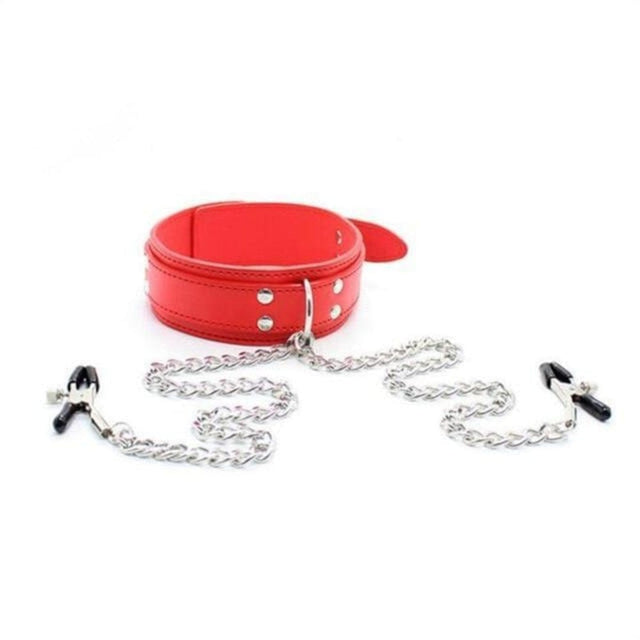 Collar and Chains Bondage Adjustable Nipple Clamps