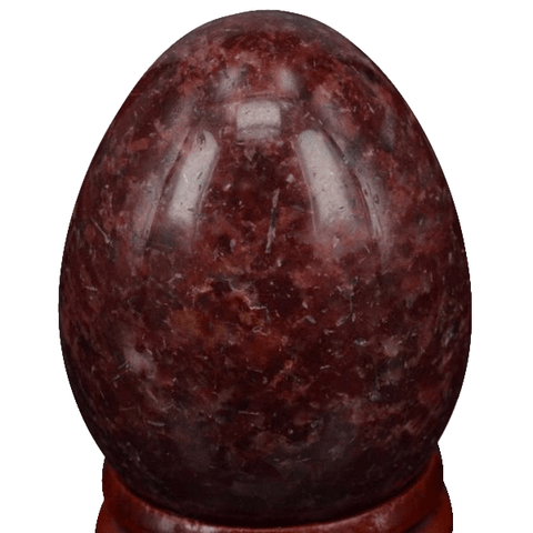 Natural Dark Red Jasper Egg with Stand