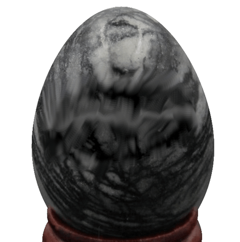 Chinese Picasso Gemstone Jasper Egg with Stand