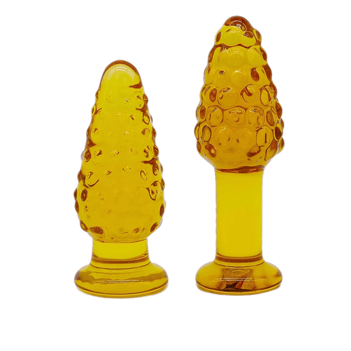 Brown and Dotted Glass Butt Plug with Vibrator 3pcs Set