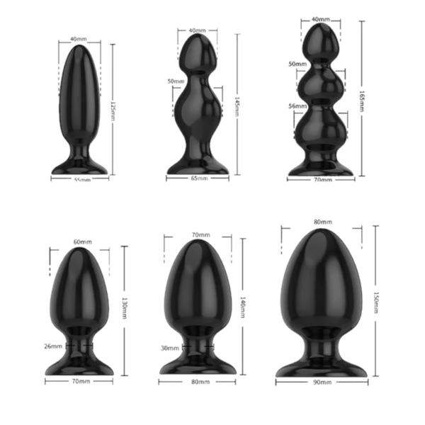 Tapered Butt Plug | Big and Black Silicone Butt Plug 4.92 to 6.92 Inches Long