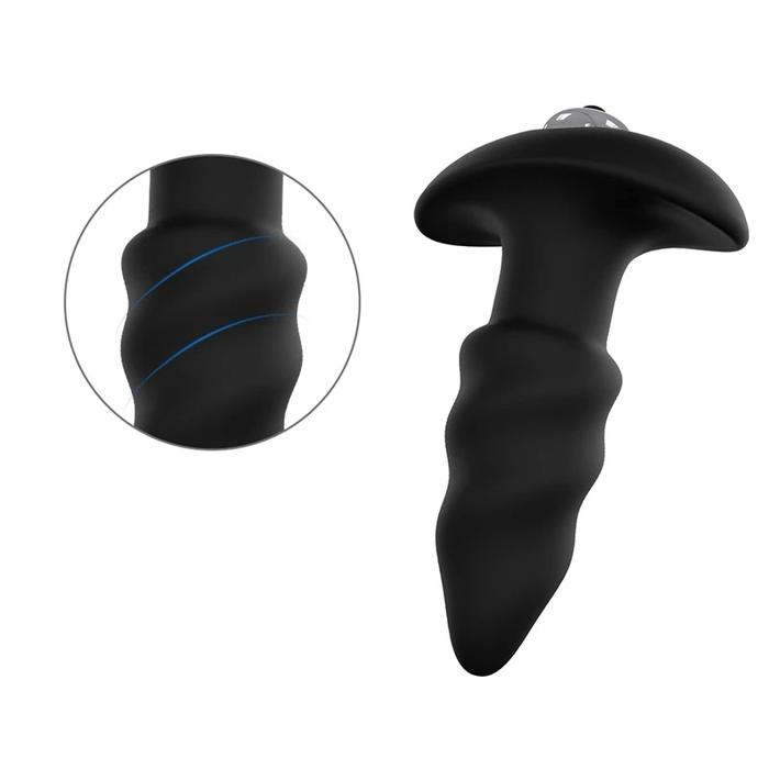 Spiral Twirl Black Silicone Butt Plug 3.94 Inches Long