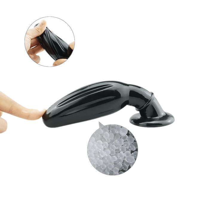 Big Black Silicone Vibrating Butt Plug 5.51 Inches Long