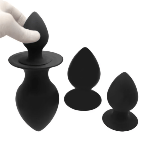 Black Chunky Silicone Butt Plug 2.95 to 4.92 Inches Long