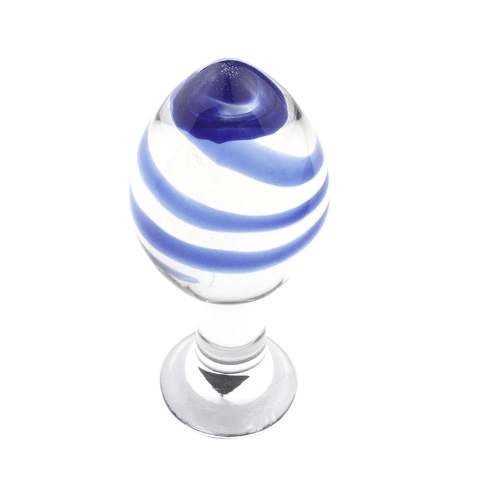 Clear With Blue Stripes Glass Butt Plug 4.33 Inches Long
