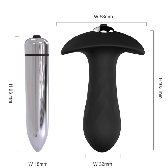 9-Speed Black Silicone Vibrating Butt Plug 4.06 Inches Long