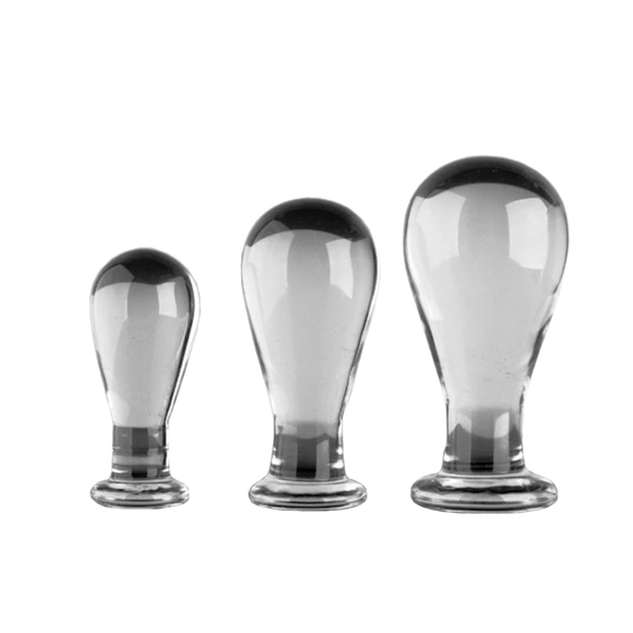 Bulb-Shaped Glass Butt Plug 3.35 to 4.33 Inches Long