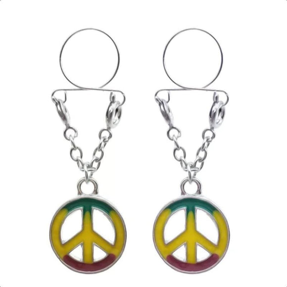 Peace Emblem Clip on Nipple Clamps
