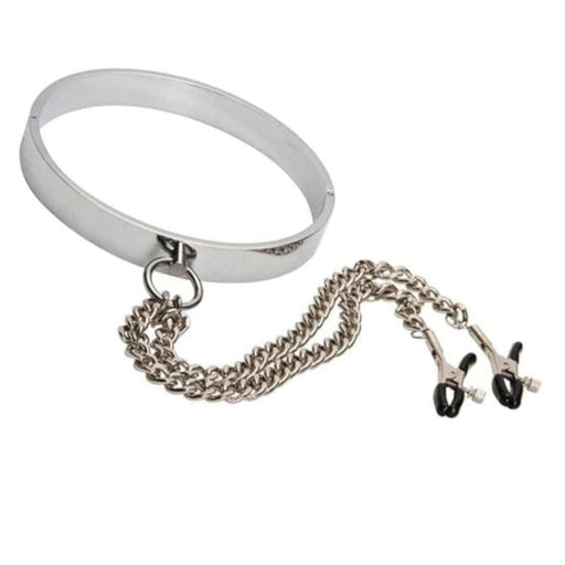 Metallic Choker With Nipple Clamps