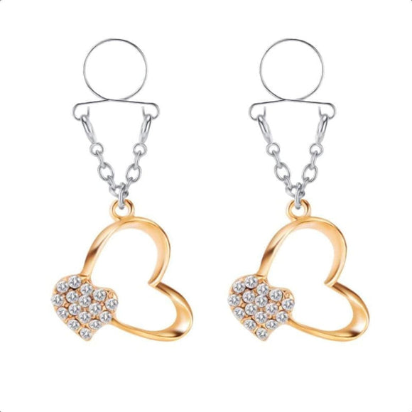Jeweled Heart Clip on Nipple Clamps