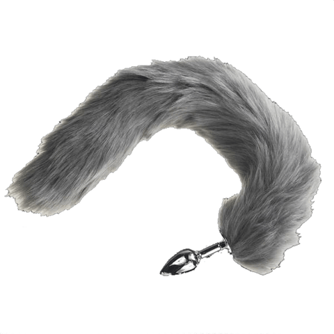 "16"" Furry Gray Cat Tail Plug"
