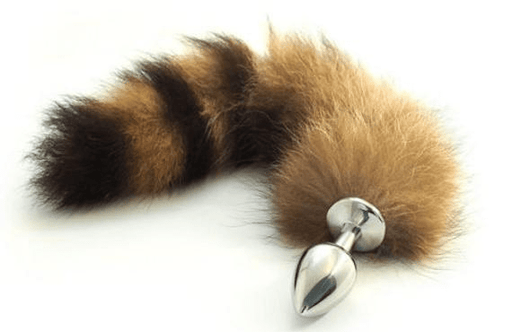 Brown Raccoon Tail Butt Plug 16 inches long