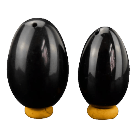 Drilled Natural Black Egg 2pcs Set