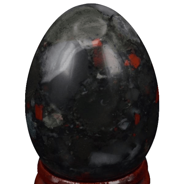 Bloodstone Yoni Egg | Undrilled Natural Bloodstone Egg with Stand