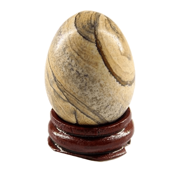 Natural Gemstone Crystal Egg with Wooden Stand