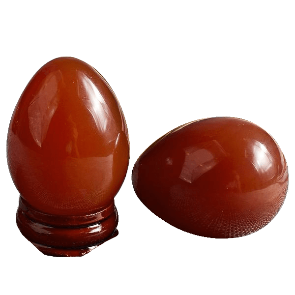 Solid Red Carnelian Crystal Egg 2pcs Set