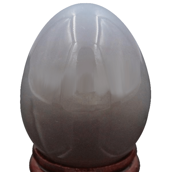 Grey Agate Egg with Wooden Stand