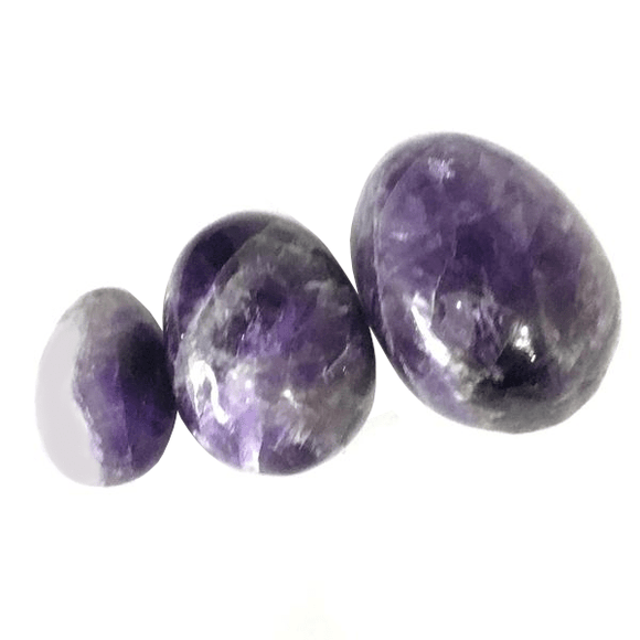 Undrilled Crystal Amethyst Egg 3pcs Set
