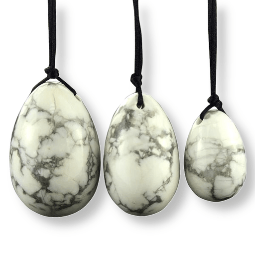 Drilled White Howlite Jade Egg Set