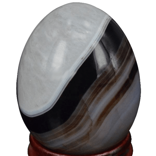 Drusy Gemstone Agate Egg with Wooden Stand