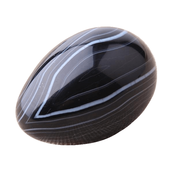 Agate Yoni Egg | Black Agate Egg with Wooden Stand