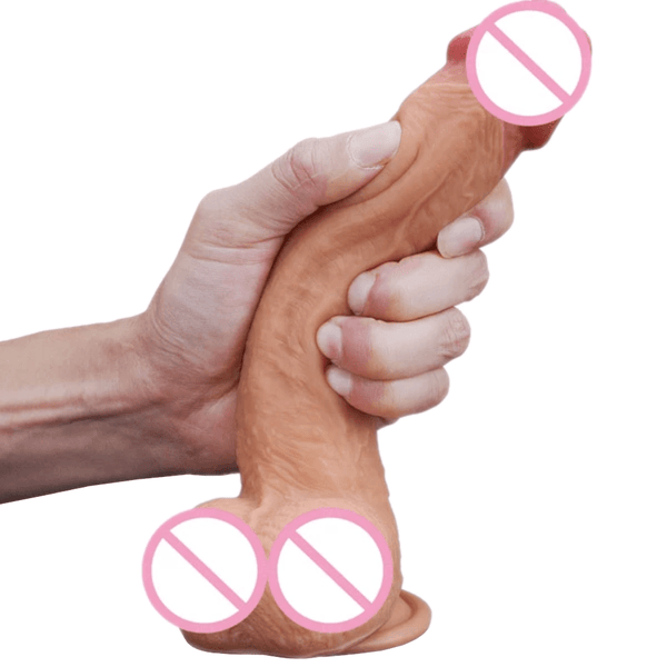 Double Layer Skin-Like 9 Inch Dildo With Suction Cup