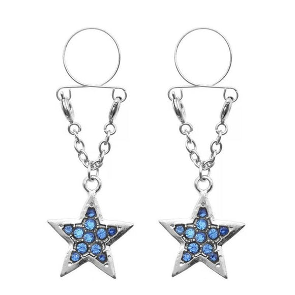 Jeweled Star Clip on Nipple Clamps